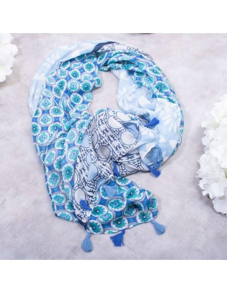 Foulard femme bleu motifs fleurs & pompons en coton et viscose