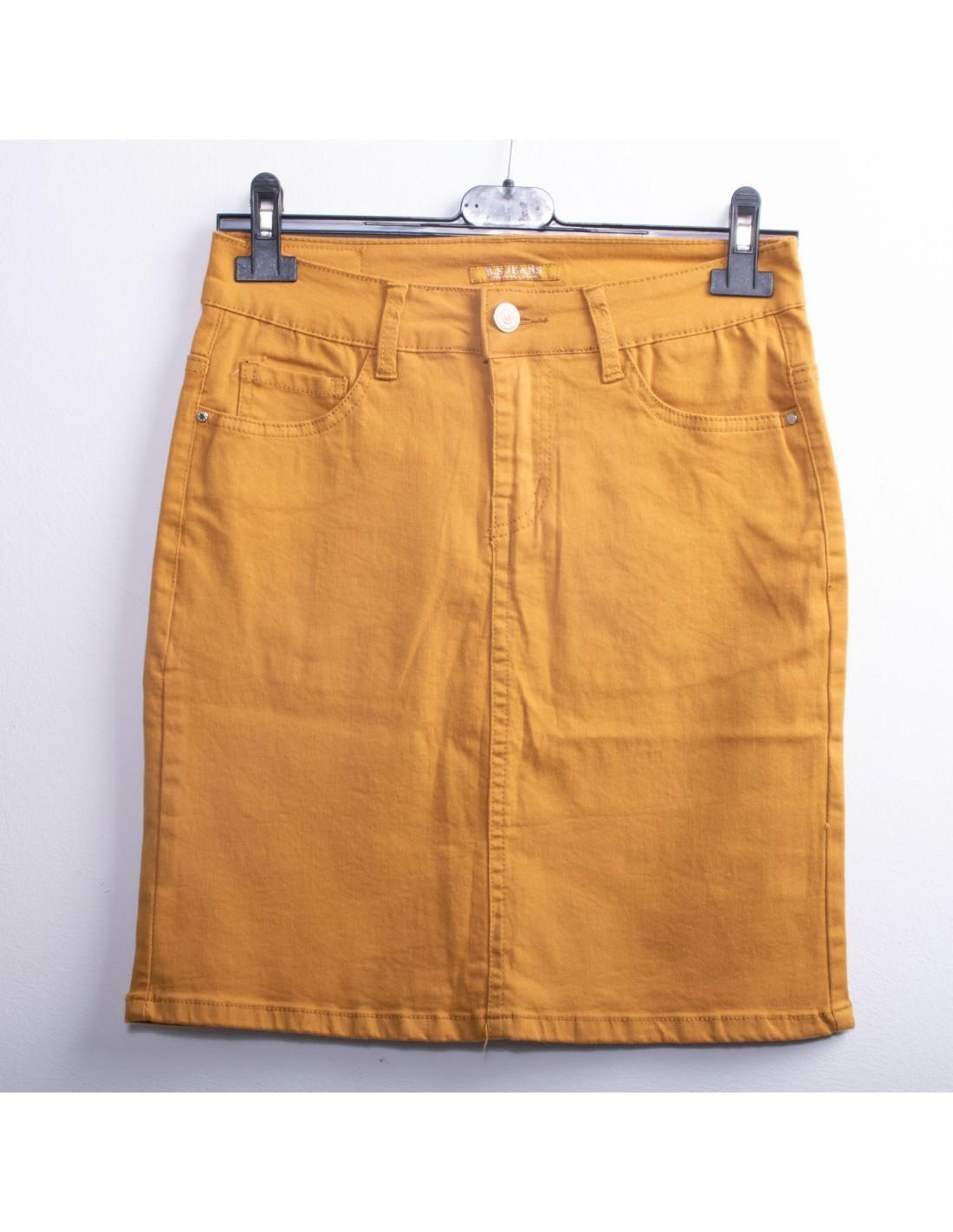 Jupe en jean femme taille haute stretch jaune moutarde 36 au 44