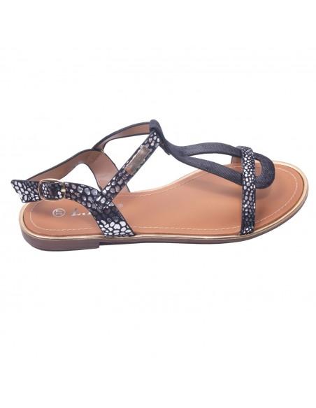 Sandales nus pied femme lanière tresse semelle cuir