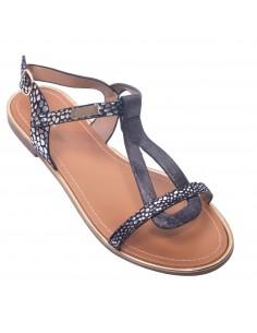 Sandales plates nus pied femme lanières pailletées simili cuir & toile petit talon carré