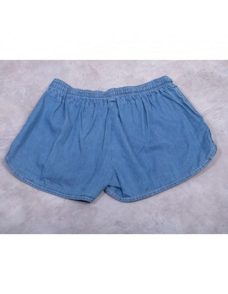 Mini short en jean femme tissu léger taille élastique 100% coton