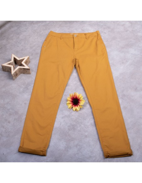 Pantalon chino femme coupe droite taille haute jaune moutarde