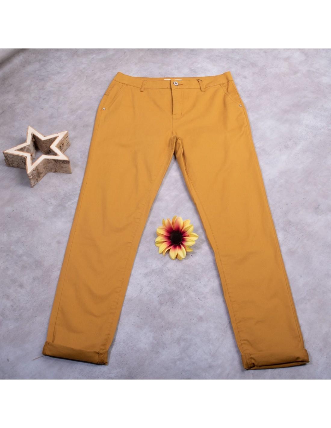 Pantalon chino femme coupe droite taille haute jaune moutarde 36 au 44