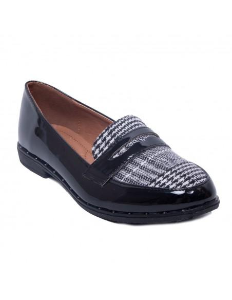 Mocassins femme vernis noir simili cuir pointus motif pied de poule noir & blanc