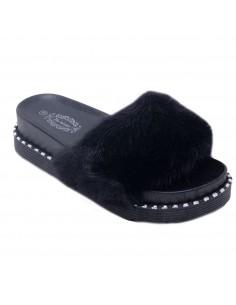 Claquettes fourrure noir femme avec plateforme & clous argentés