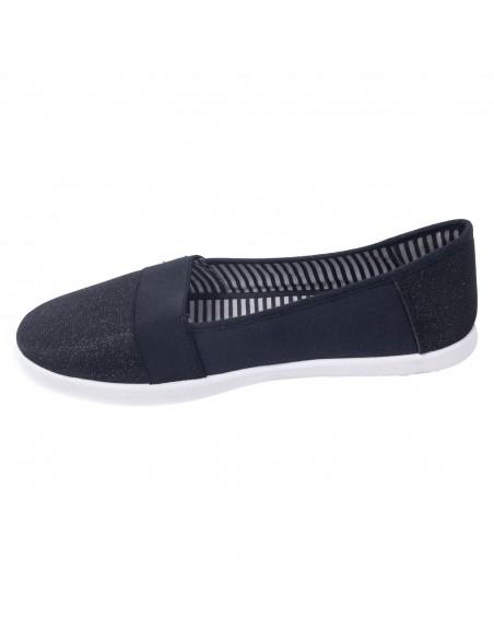 Baskets femme toile pailletée noir forme slip on grandes pointures