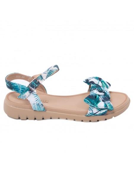 Sandales brides & noeud femme en simili daim forme nus pied