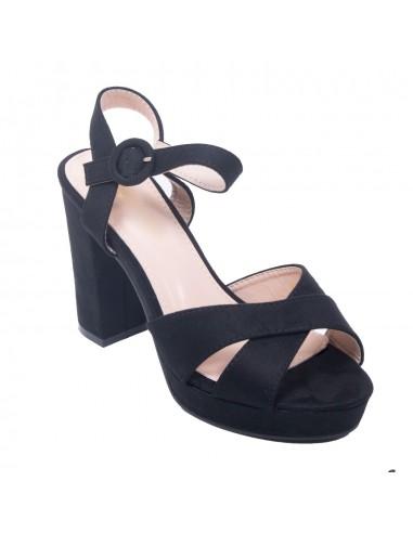 Sandale noir simili daim à plateforme & gros talon