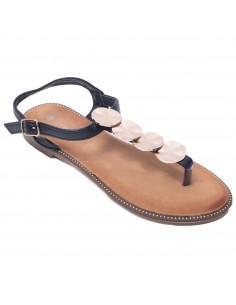 Sandales été plates femme à brides avant & coquillages métal doré
