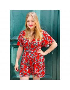 Combishort manches courtes femme motif vintage fleuri roses rouges avec ceinture