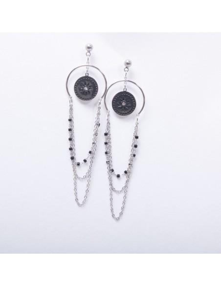 Boucles d'oreilles acier inoxydable pendantes femme étoiles & chaînes multirangs