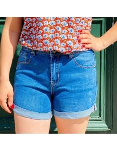Short en jean femme taille haute stretch degradé bleu à revers 34-44