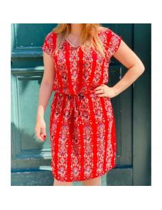 Robe droite d'été femme motif rouge ethnique en voile élastique taille