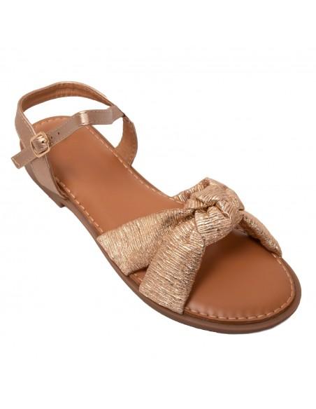 Sandales femme nus pied noeud doré semelle confort