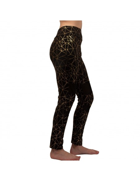 Legging de sport femme motif triangle doré bandes respirantes taille haute