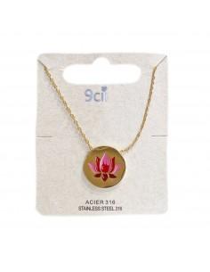 Collier pendentif femme acier inoxydable doré ou argenté fleur de lotus fermoir mousqueton forme médaillon