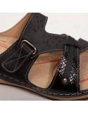 Mules femme à bride réglable doré sabot pied sensible en simili cuir noir ou blanc 35-42