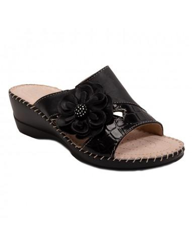 Sabots femme confort à fleurs forme mules pieds sensibles semelle cuir du 35 au 42