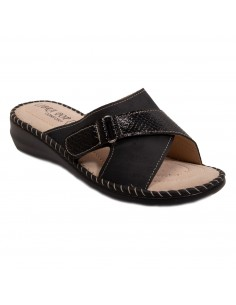 Mules femme pieds sensibles semelle cuir bride scratch réglable du 35 au 42