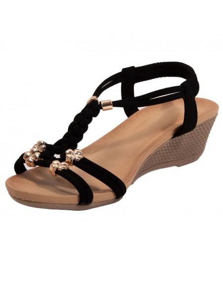 Sandales femme petit talon compensé bride cheville élastique tressée & breloques dorées