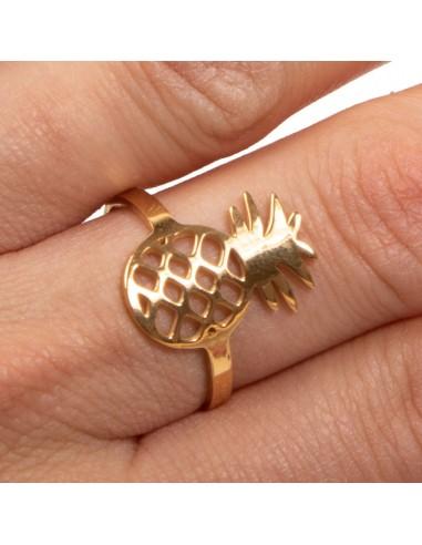Bague ananas réglable femme en acier inoxydable bijoux doré ou argenté