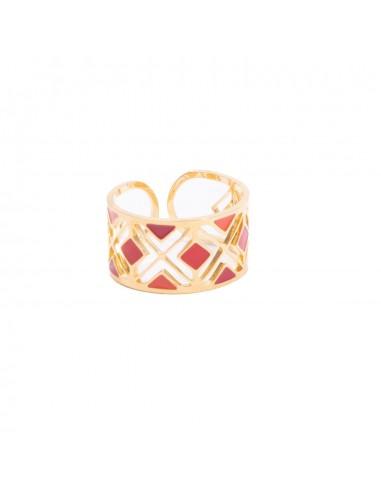 Bague femme épaisse acier inoxydable motif ajouré coloré bijoux réglable