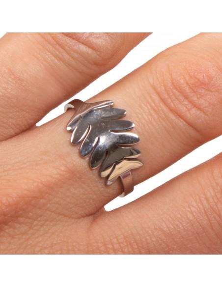 Bague motif feuille femme acier inoxydable réglable  bijoux argenté