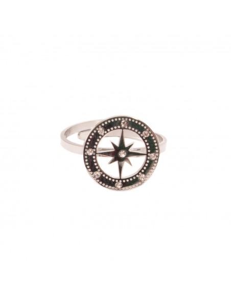 Bague étoile nautique femme acier inoxydable réglable étoile strass bijoux