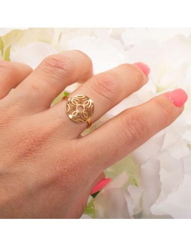 Bague fantaisie femme rosace ajourée fleur en acier inoxydable réglable bijoux