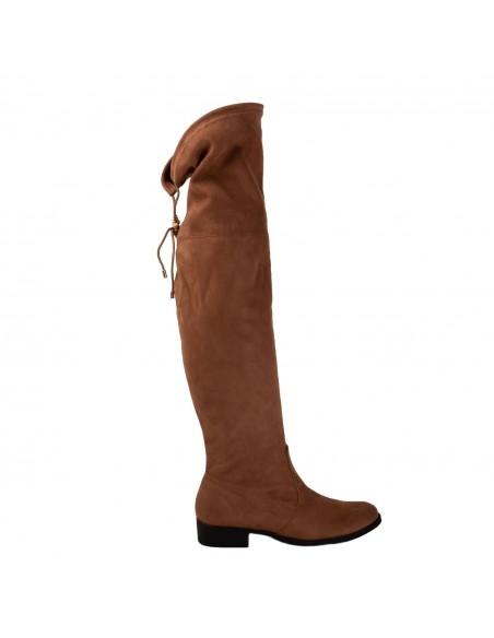 bottes montantes plates pour femme en suédine montantes élastiques noir ou camel