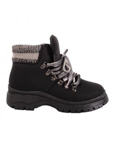 Boots rangers femme basses style rando revers laine fantaisie & semelle crantée