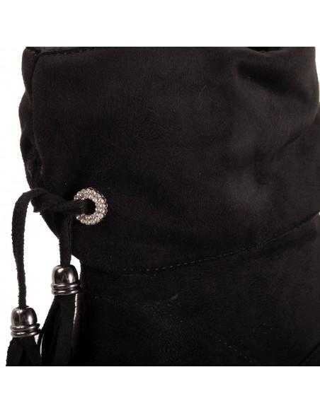 Bottines compensées femme semi montantes en suédine noir et pampilles revers
