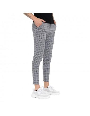 Pantalon homme slim blanc et noir motifs petits carreaux