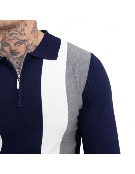 Pull homme col polo fermeture zip rayures verticales