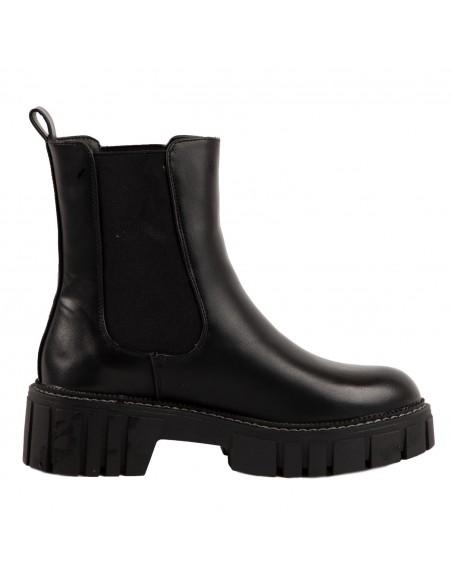 Boots chelsea montantes femme élastique noir semelle oversize en simili cuir