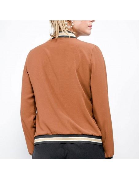 Veste bombers femme en tissu camel col et manches dorés fermeture zip