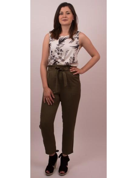 Pantalon femme Taille haute fourreau ceinture noeud effet coton