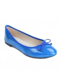 Ballerines vernies bleu femme semelle intérieure cuir bouts rond & noeud