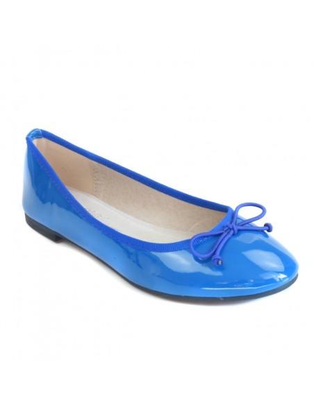 ballerine femme bleu vernis simili cuir