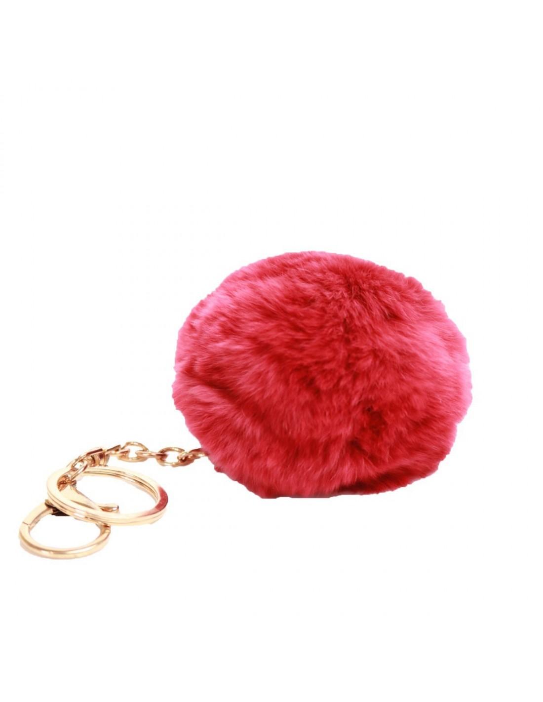 pompon rouge fourrure synth tique bijoux de sac porte cl s. Black Bedroom Furniture Sets. Home Design Ideas