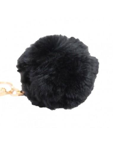 Pompon noir fourrure synthétique bijoux de sac porte clés