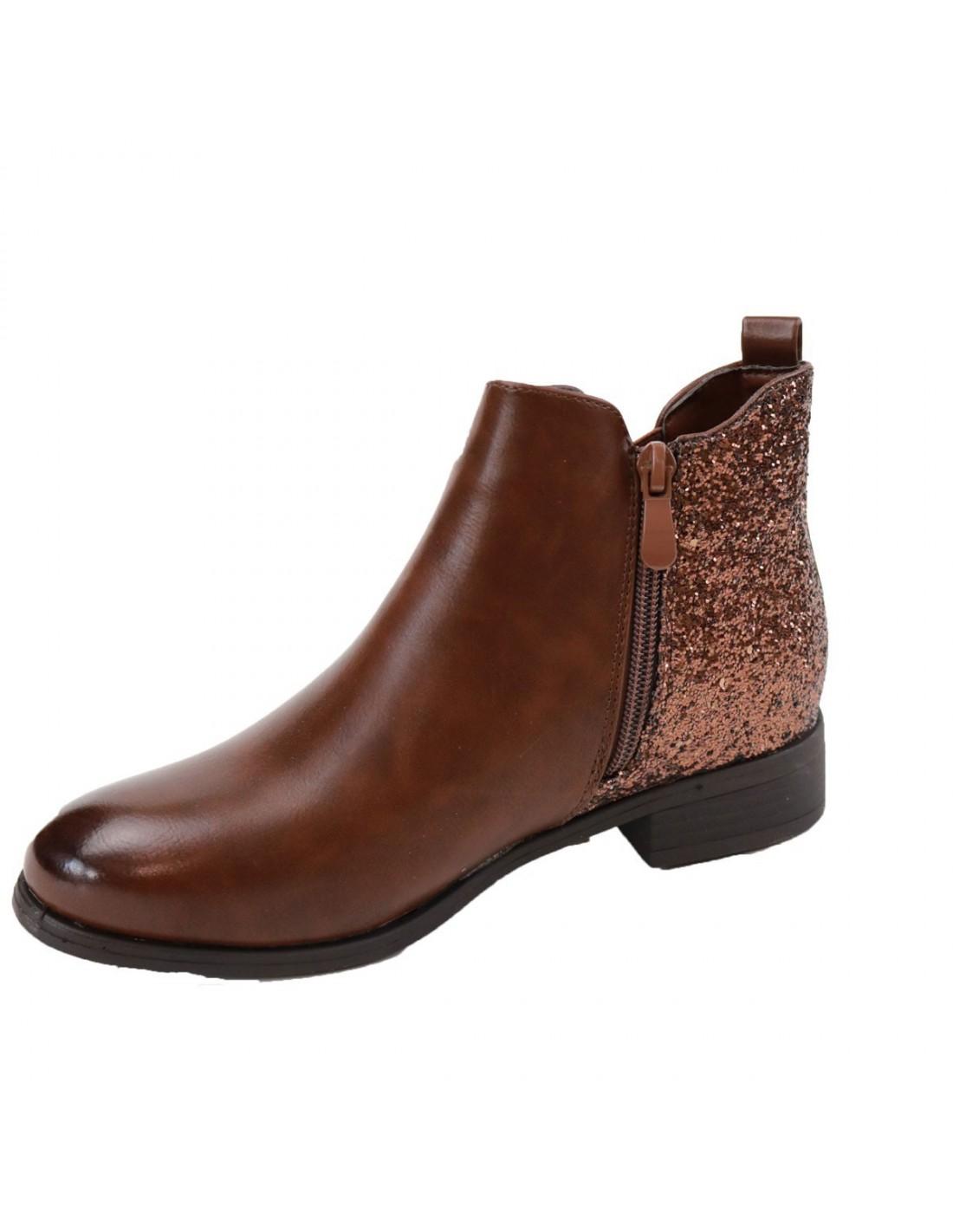 bottines femme chelsea marron simili cuir et paillettes. Black Bedroom Furniture Sets. Home Design Ideas