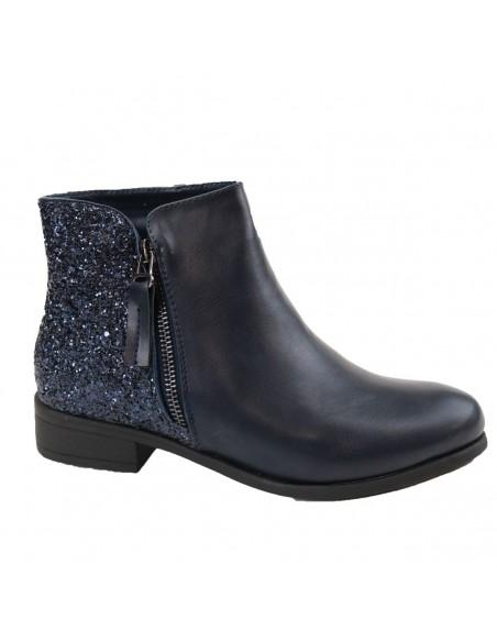Bottines femme Chelsea simili cuir bleu nuit à paillettes - boots pailletés