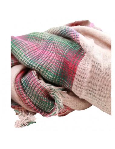 Echarpe femme grande taille carrée rose pâle motif tartan rose vert bleu