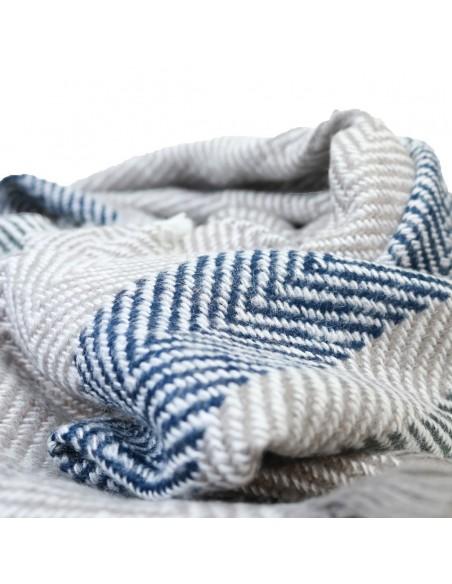 Echarpe femme longue en laine tons gris, bleu et blanc motif rayure triangle