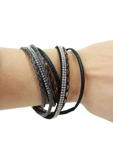 Bracelet femme aimanté fines lanières cuir marron et strass double tour