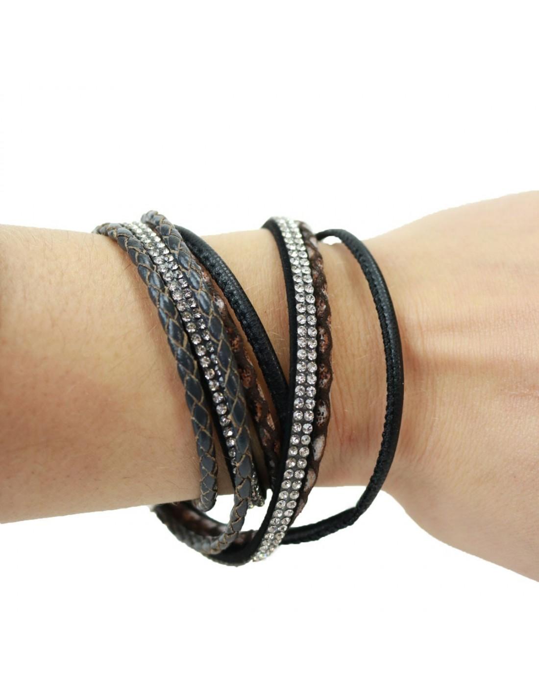 Bracelet Fantaisie Femme strass Marron