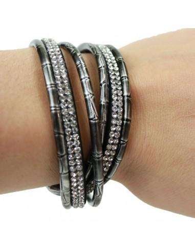 Bracelet femme aimanté fines lanières grises effet croco et strass double tour