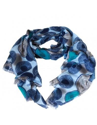 Foulard femme long et doux motif cercles et ronds bleu