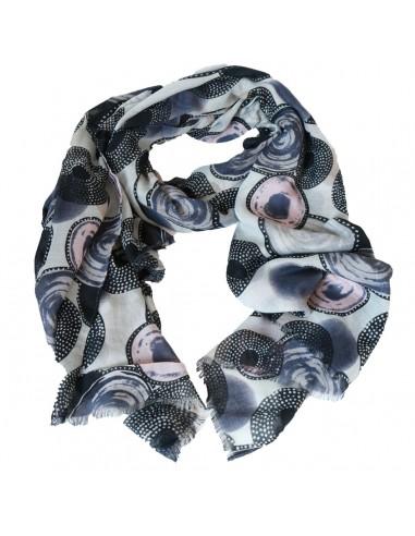 Foulard femme long et doux motif cercles et ronds noir gris